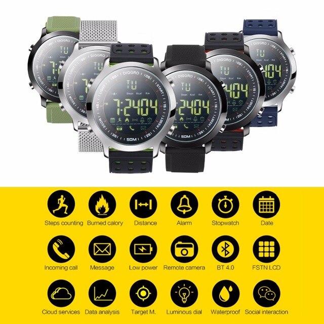 bbc8fa8f23 Diggro EX18 スマート腕時計 5ATM プロ防水 Bluetooth 歩数計リアルタイムスポーツロングスタンバイため iOS