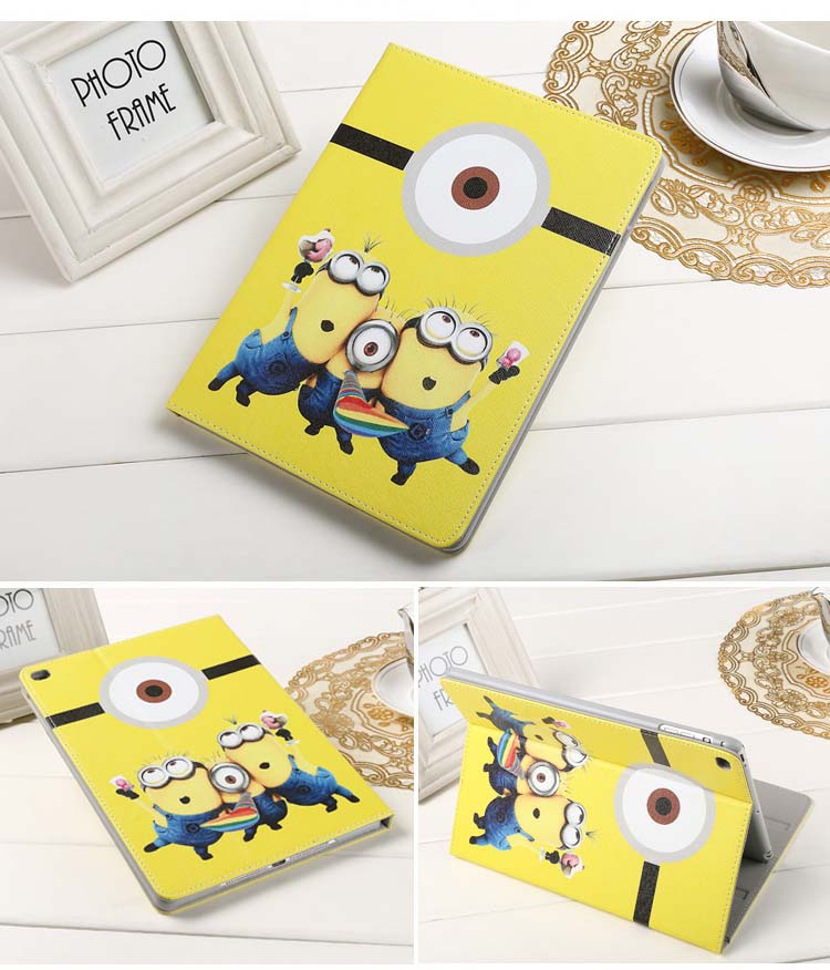 Cartoon minion case for new Ipad 9 7inch 2017 version Leather folio smart cover A1822 protective