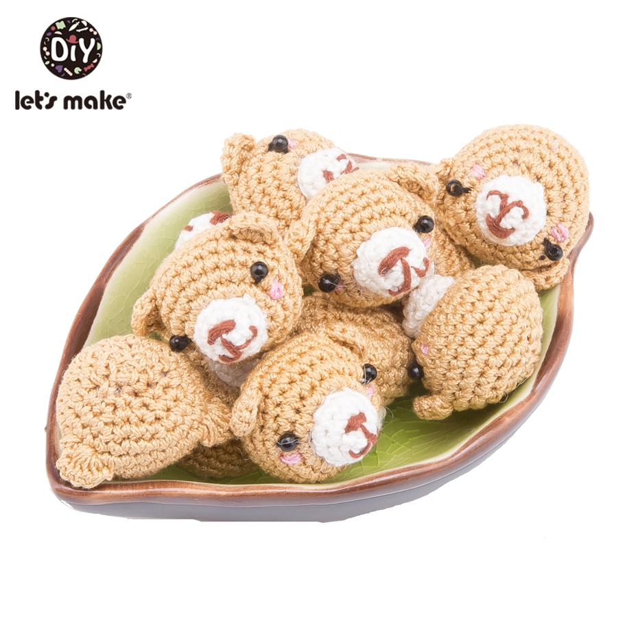 Let'S Make 10Pc Crochet Beads Cotton Diy Accessory For Baby Infant Toys AmigurumiBear Cartoon Beaded Baby Stroller Accessories