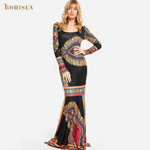 BOHISEN Dashiki African Dresses for Women Plus Size Print Sleeveless Sexy Ankara Clothes