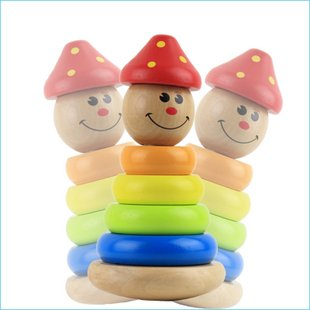 Toy Puzzle Stacking Wooden Large Tumbler Clown Early-Childhood Education Children Wholesale