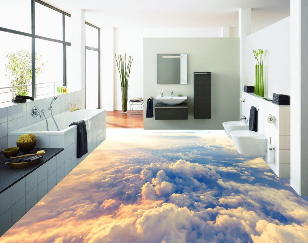 3d floor painting wallpaper High-altitude clouds 3D flooring pvc self-adhesive wallpaper 3d flooring free shipping 3d carp lotus pond lotus flooring painting tea house study self adhesive floor wallpaper mural