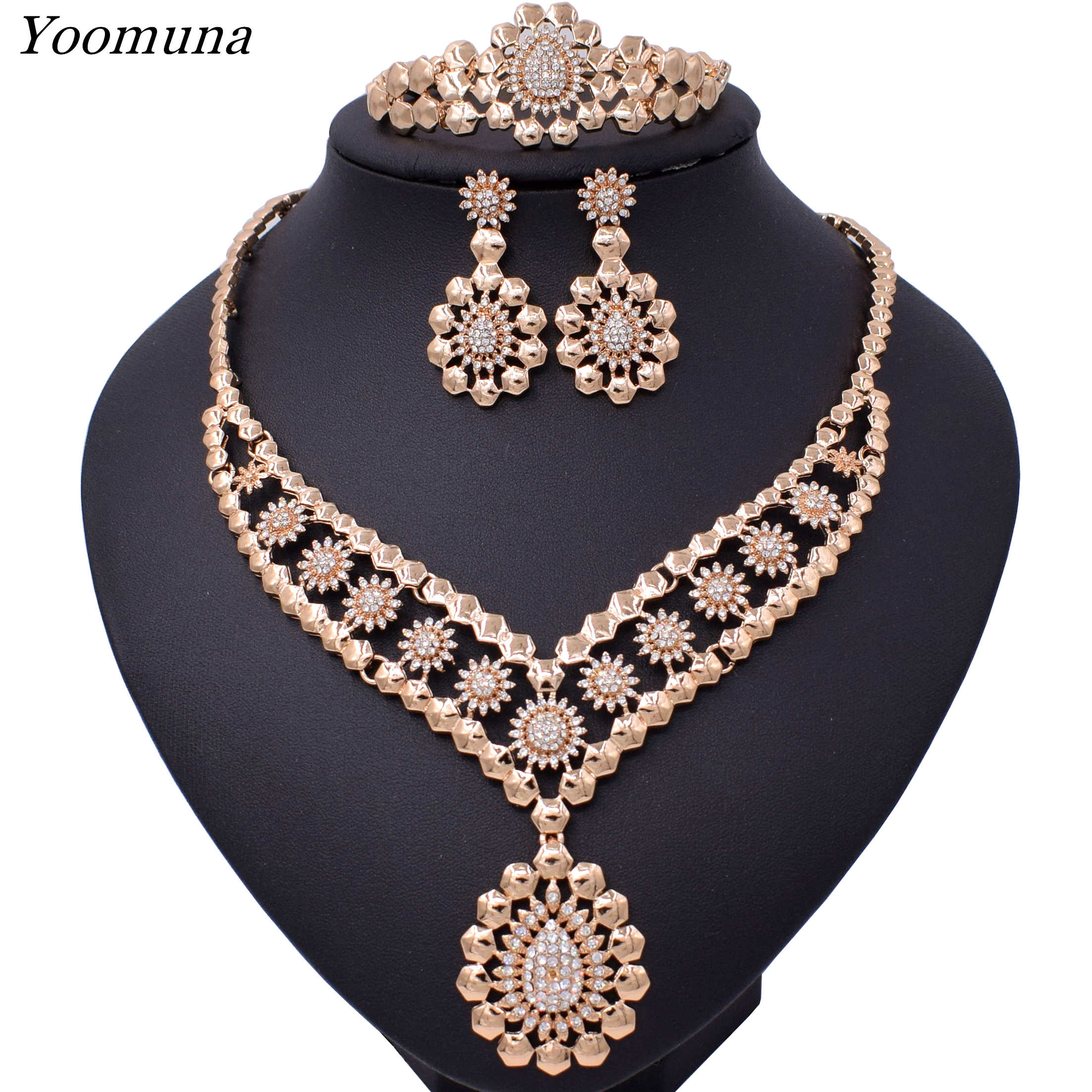 2019 Exquisite Dubai Gold Color Jewelry Set  Nigerian Wedding African Beads Jewelry Set Design necklace sets for women