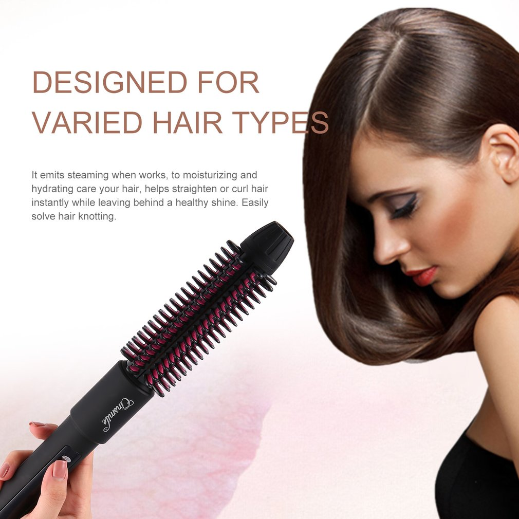 Multifunctional Portable 3 in 1 Ionic Steam Magic Styler Electric Hair Brush with Straightener + Curling + Steaming Functions ckeyin 9 31mm ceramic curling iron hair waver wave machine magic spiral hair curler roller curling wand hair styler styling tool