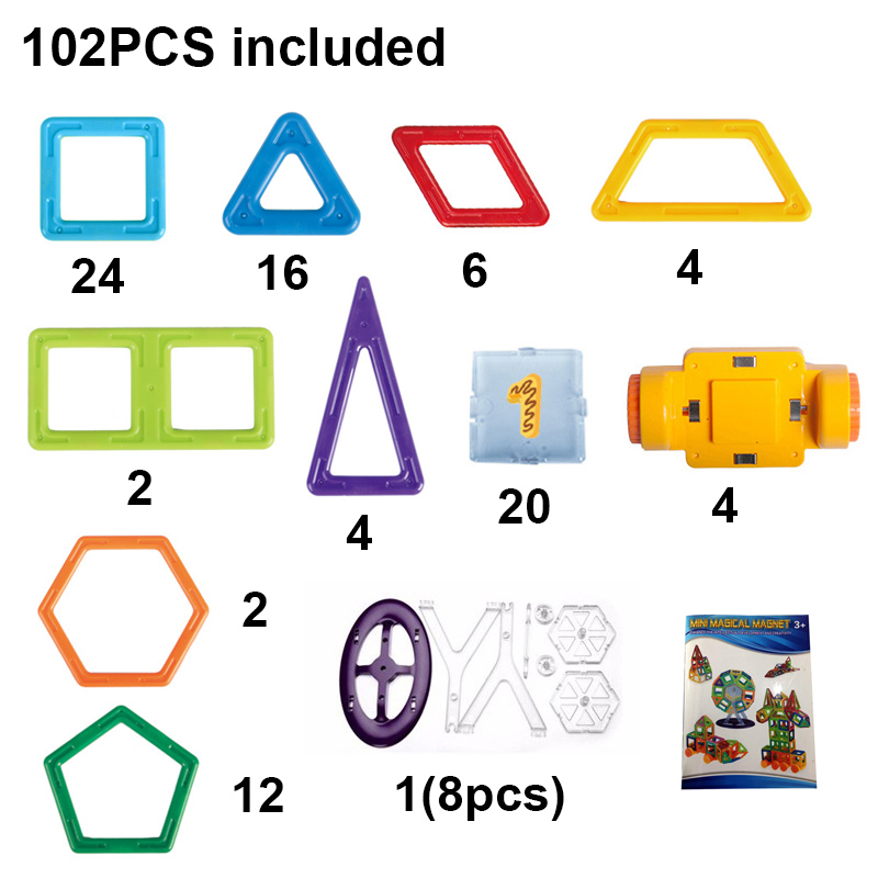 102PCS DIY Mini Magnetic Pure Color Building Blocks Educational Toy Construction Magnet Block Plastic Bricks Set Children Toys building blocks stick diy lepin toy plastic intelligence magic sticks toy creativity educational learningtoys for children gift