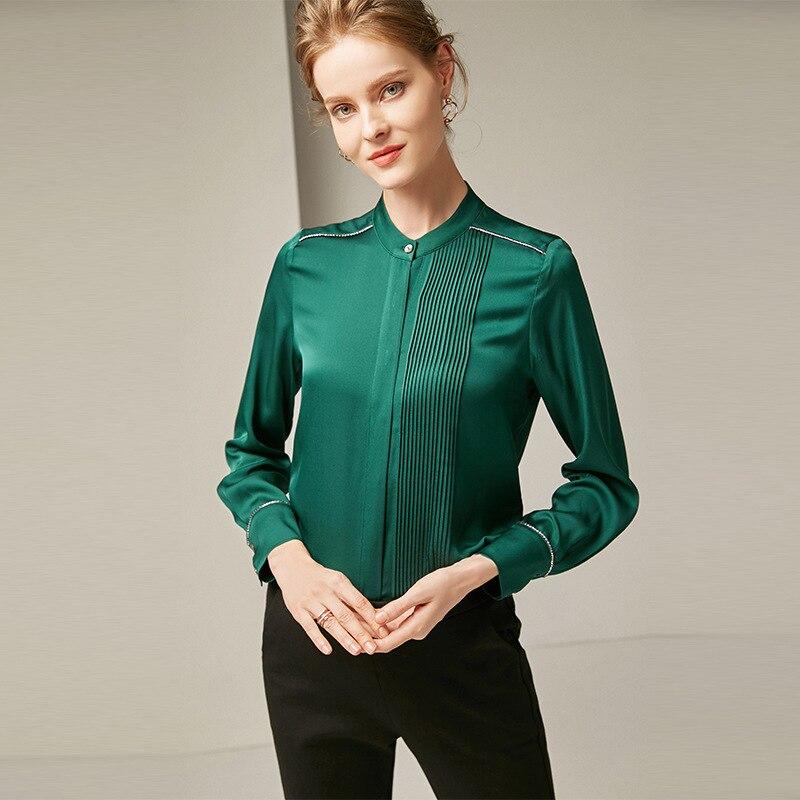 Seda Nueva 2019 O Mujeres De 100 Gris Oficina Largo Mangas Colores Camisa Asimétrico azul Cuello Blusa Las Moda verde Diseño 3 Marino Plisado UWq5axqc