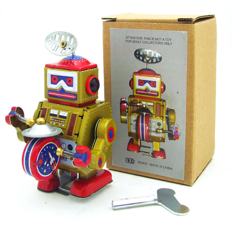 Classic Vintage Clockwork Wind Up Drum Playing Robot Reminiscence Children Kids Tin Toys With Key Fun Toy Gift For Children