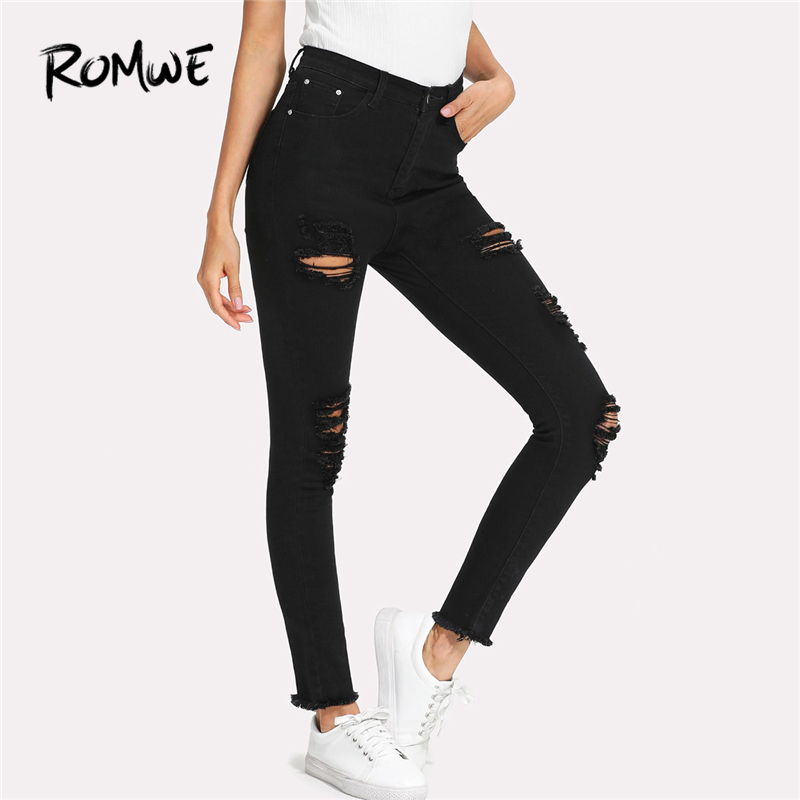 ROMWE Elastic Sexy Skinny Pencil   Jeans   Women Hole Ripped Pencil Trousers Mid Waist Fall Fashion Female Stretchy Denim Pants