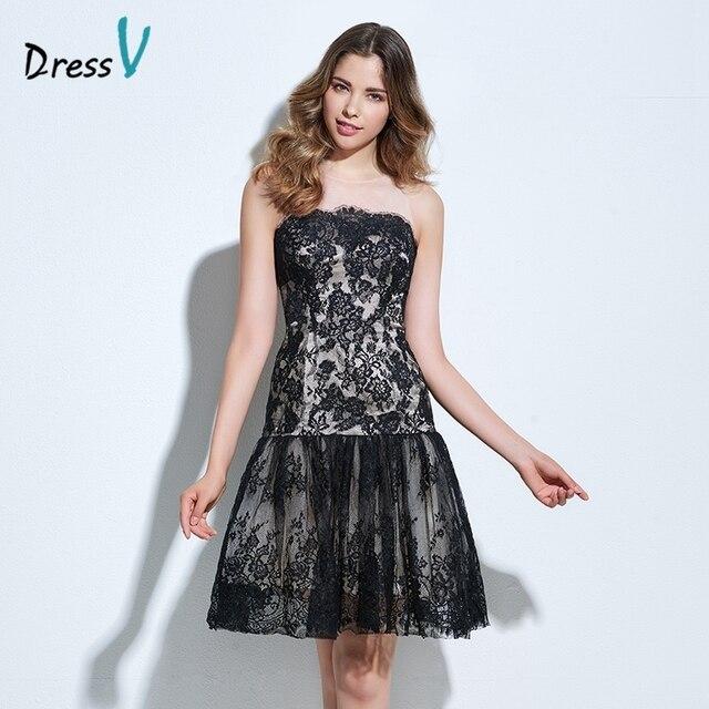 4e1c83c26d9 Dressv black knee-length lace cocktail dress scoop neck A-line button sleeveless  lace formal party dress short cocktail dresses