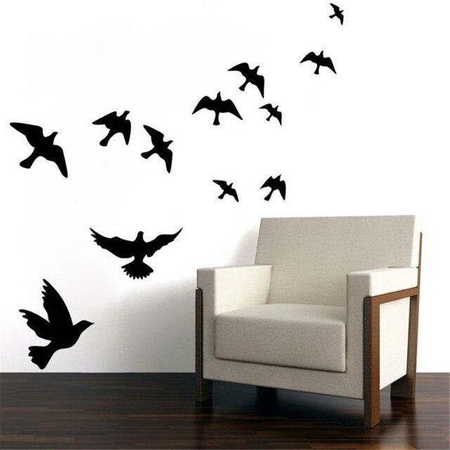 White Black Birds Wall Decals Mural Sticker Removable Home Room Decor Vinyl  DIY Bedroom Living Room