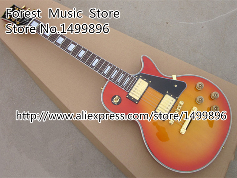Chinese Musical Instruments Cherry Sunburst Finish Guitar Body Classical LP Custom Guitar Lefty Available custom shop chinese musical instrument golden finish lp electric guitar kits lefty custom available
