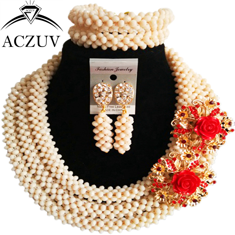 Здесь продается  ACZUV Latest Ivory Crystal Necklace and Earrings Bracelet African Wedding Beads Nigerian Jewelry Set for Women B3R015  Ювелирные изделия и часы