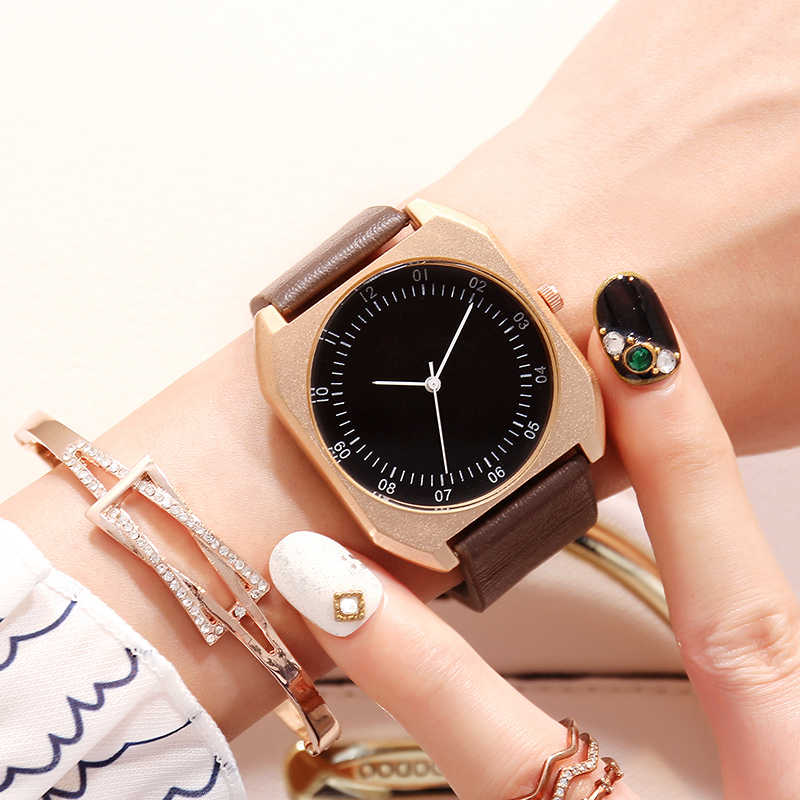 BGG New Design Women Square Big Dial Watch Women Fashion Casual Elegant Leather Wristwatch Colorful Girl Quartz clock Relogio bgg brand creative two turntables dial women men watch stainless mesh boy girl casual quartz watch students watch relogio
