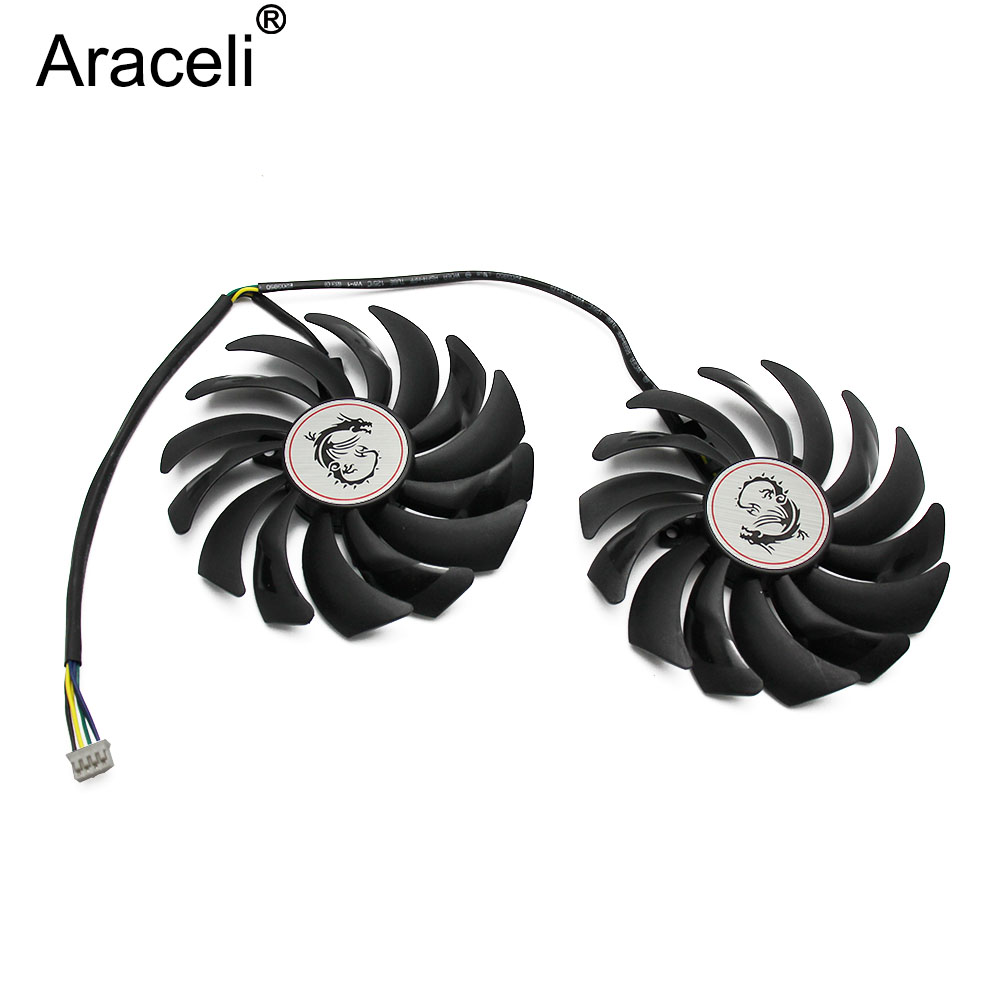 2Pcs/Lot 95MM PLD10010S12HH 4Pin Cooler Fan Replacement For MSI GTX 1060 1070 1080 TI <font><b>RX</b></font> <font><b>470</b></font> 570 RX580 GAMING X <font><b>Graphics</b></font> <font><b>Card</b></font> image