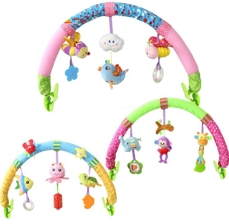 Newborn Baby Stroller Car Clip  Hanging Seat & Stroller Toys  Ocean Forest Sky Flying Animal mobile Rattle toy new activity spiral stroller car seat travel lathe hanging toys baby rattles toy