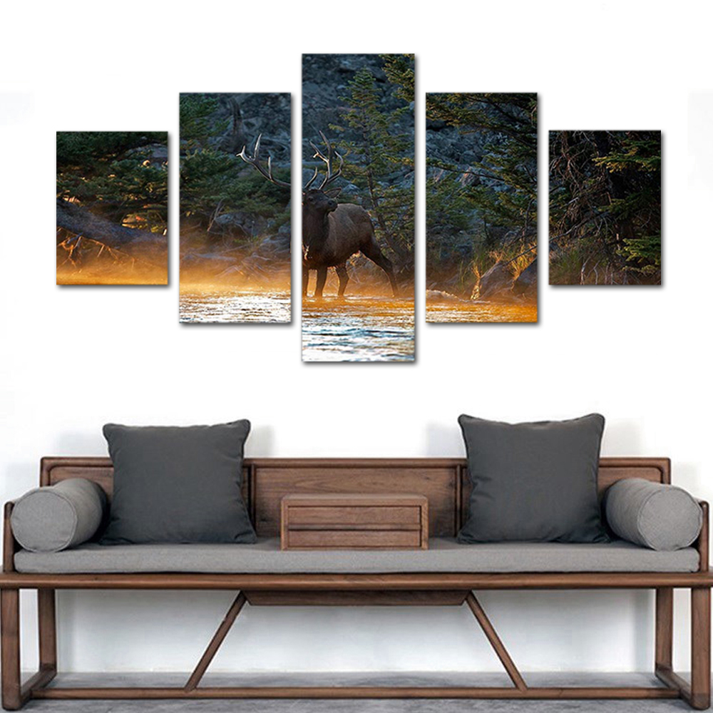 Unframed HD Print 5 Canvas Art Paintings Elk Canvas Mural Living Room Decoration Picture Unframed Free Shipping