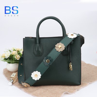 OCEAN BS 2018 Cow Leather Green/Orange/Blue/Grey Flower Handbags Genuine Leather Shouler Bag Two Size Cute Bags for Women Bags