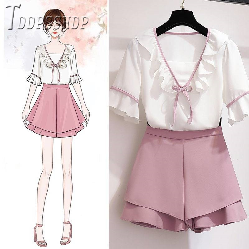Small Fragrance Women Sets Ruffles Blouse And Shorts Sweet Female Sets
