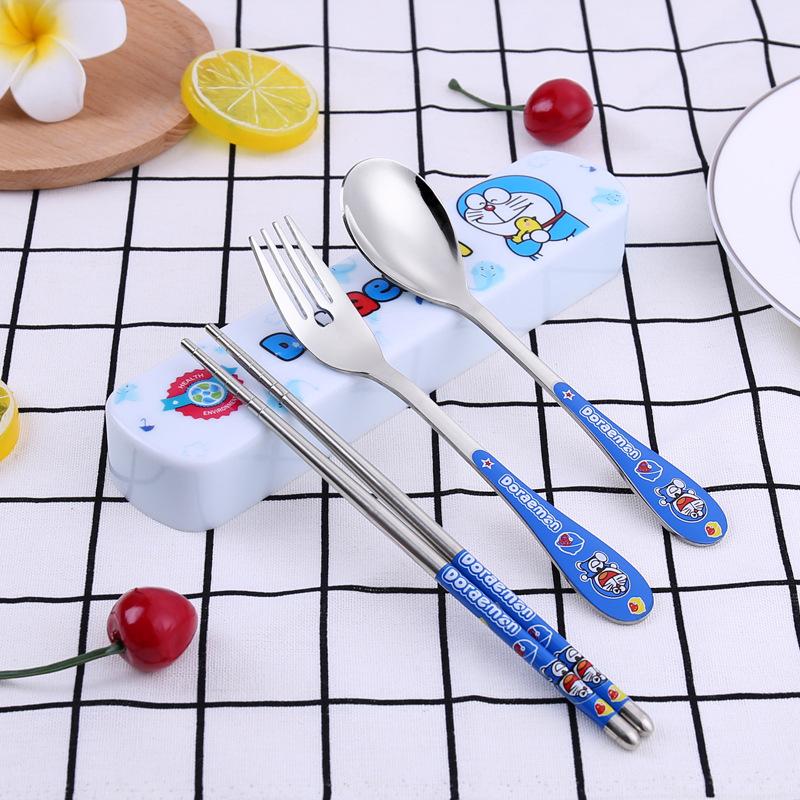 Keythemelife-3pcs-set-Tableware-Cartoon-Hello-kitty-Cutlery-Stainless-Steel-Dinnerware-with-Box-Outdoor-Dinner-Set