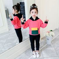 2019 New Spring Autumn Kids Cotton Suits Teenage Girls Pocket Patchwork Sweatshirts+Solid Pants Sets Baby Girl Clothes 2Pcs T55