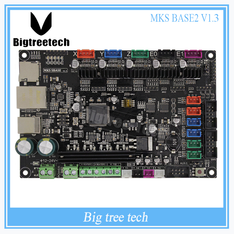 3Dpriter Smoothieware controller board MKS SBASE V1.3 opensource 32bit Smoothieboard Arm support Ethernet preinstalled heatsinks chip lqfp32 stm32f030k6t6 patch 32 bit arm micro controller