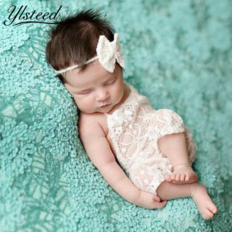 Newborn Photography Props Baby Lace Rompers Infant Outfits Headband Set for Photo Shooting Baby Boy Girls Photography Accessory 3pcs set newborn infant baby boy girl clothes 2017 summer short sleeve leopard floral romper bodysuit headband shoes outfits