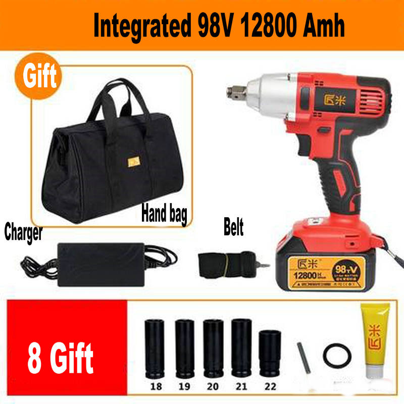 98V 12800amh Integrated Cordless Electric Wrench Impact Socket Wrench Li Battery Hand Drill Hammer Installation Power Tools автомагнитола aura amh 300m