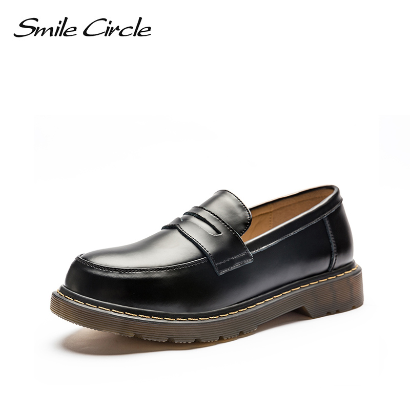Smile Circle Oxford Genuine Leather Flats Shoes Women Slip-on Martin platform shoes Autumn 2018 Round Toe casual shoes For Women asumer white spring autumn women shoes round toe ladies genuine leather flats shoes casual sneakers single shoes