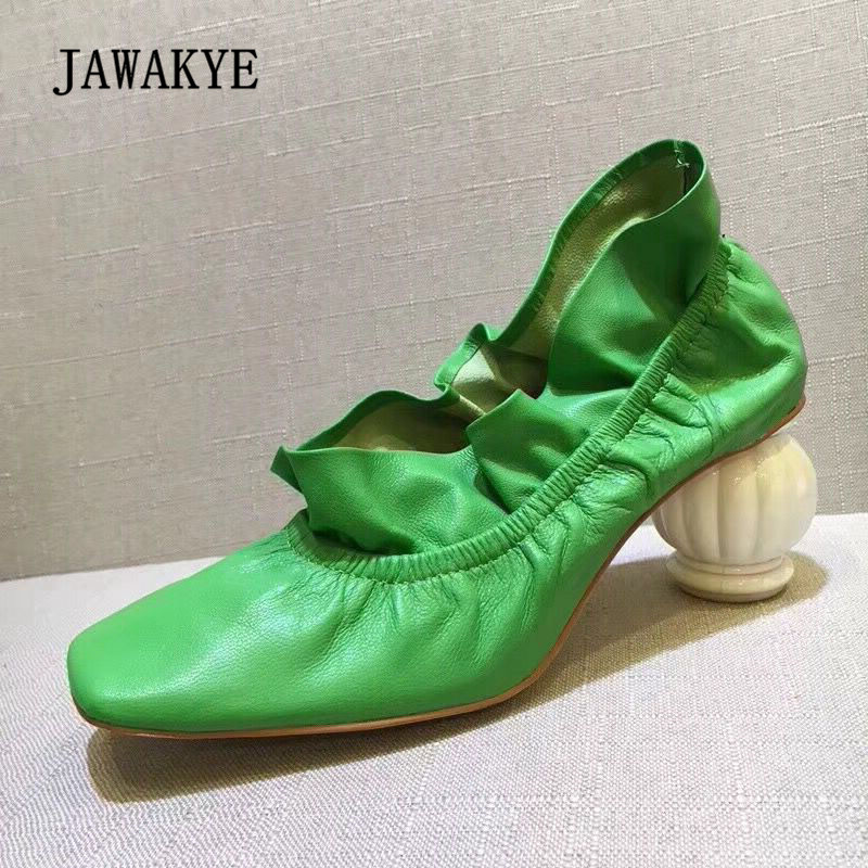 2018 Lotus Leaf Folds High Heels Women Square Toe Green Yellow Real Leather Srange Vase Heel Shoes Woman Fashion Casual Shoes asumer beige pink fashion spring autumn shoes woman square toe casual single shoes square heel women high heels shoes