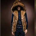 2017 New Fashion Winter Men Males Fur Vest Hoodie Hooded Thick Fur Warm Waistcoats Sleeveless Coat Outerwear Male Jackets Y279