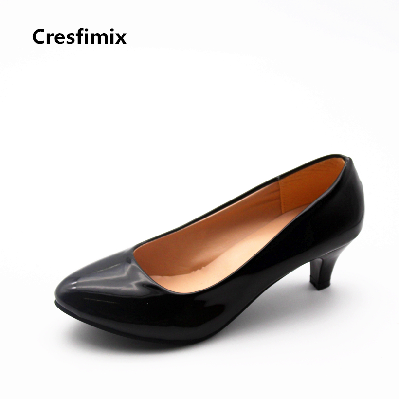 Cresfimix women fashion comfortable office pu leather high heel shoes lady cute medium heel round toe shoes female casual shoes cresfimix women cute spring summer slip on flat shoes with pearl female casual street flats lady fashion pointed toe shoes