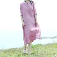 Summer Women S Dresses Cotton Linen Brand Robes Half Sleeve O Neck Solid Mid Calf Brief