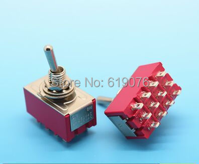 10pcs 6A/125VAC 2A/250VAC 12 Pin 4PDT ON/ON 2 Position Mini MTS-402 Toggle Switch 250vac 15a 125vac 20a 4 pin 2 position dpst on off snap in rocker switch kcd2 201n