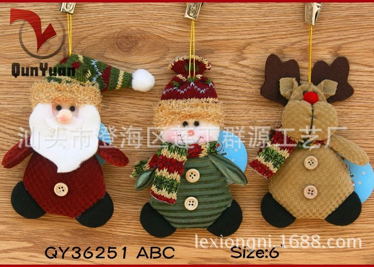 QY36251ABC-4-Christmas-Ornaments-Dolls-Santa-Claus-Snowman-Reindeer-Xmas-Decoration-Father-Christmas-Little-Hang-
