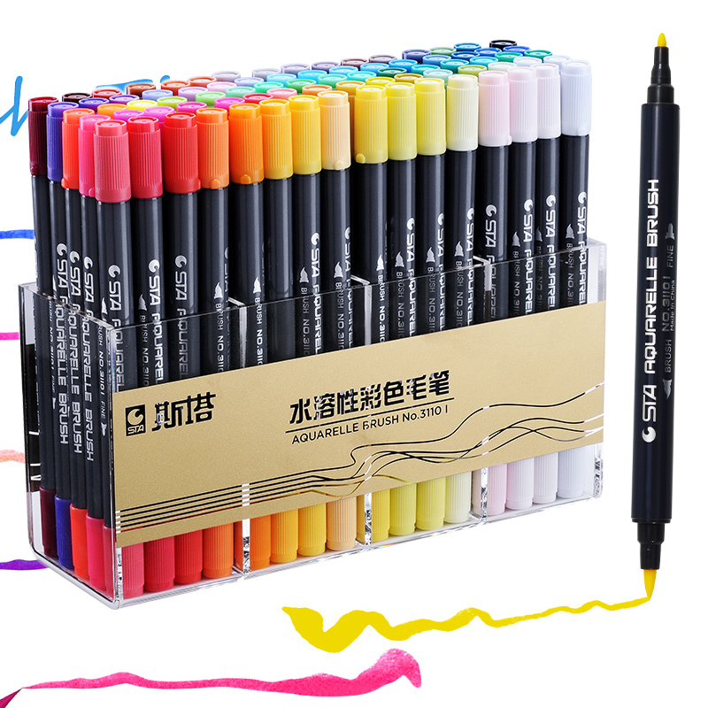 STA 12/24/36/48/80 Colors Dual Tips Watercolor Brush Marker Pen Set With Fineliner Tip For Drawing Design Art Marker Supplies
