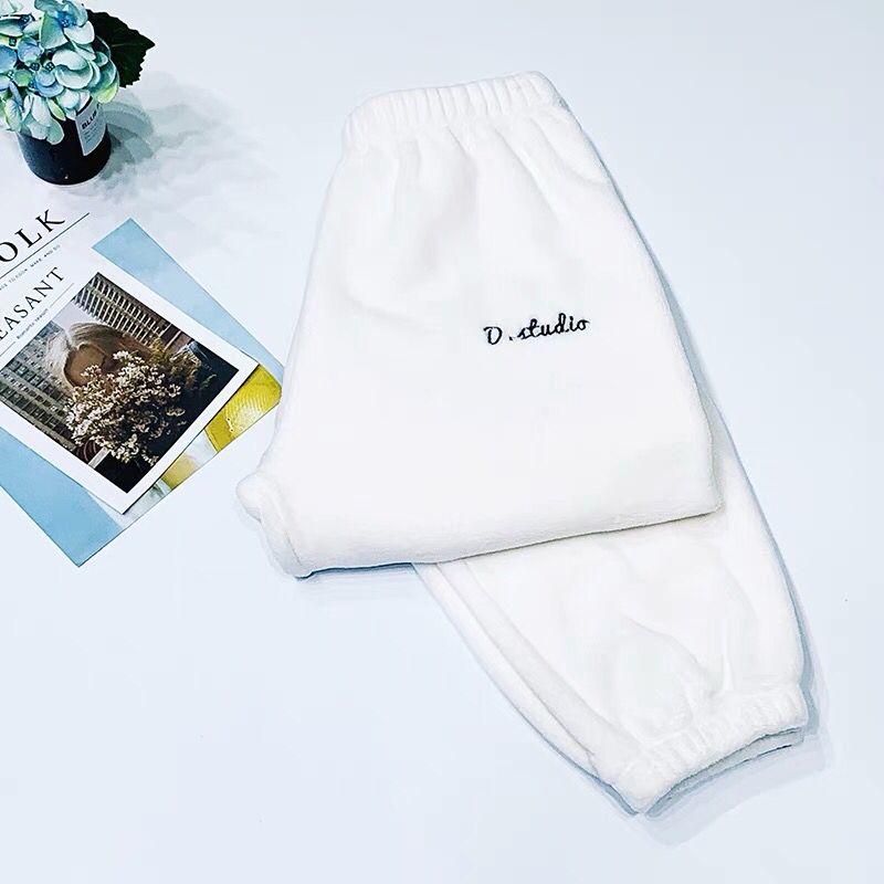 Зимние фланелевые длинные штаны для сна; Толстая Теплая Повседневная Домашняя одежда; повседневные пижамные брюки; мягкие свободные брюки; одежда для сна - Цвет: Pants-White