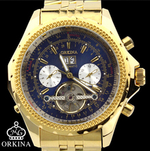 Man Sale New Watch Blackcat Brand Stainless Steel Men 2016 Fashion Golden Day Date Month Automatic
