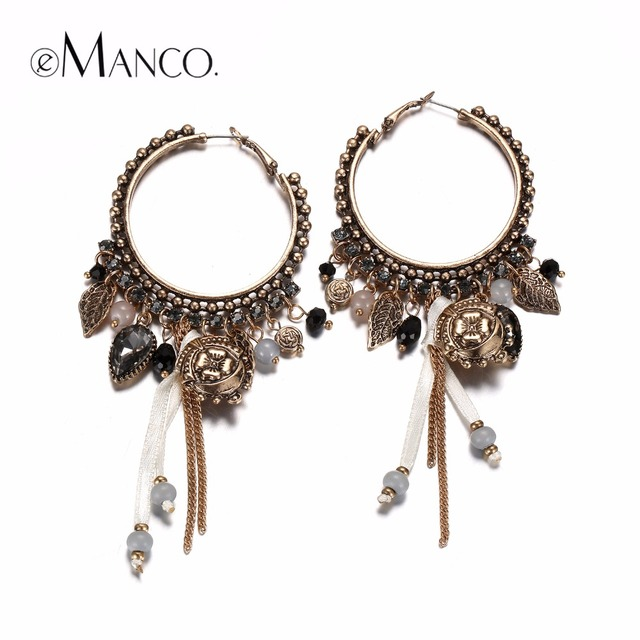 eManco Ethnic Style Dangle Drop Hanging Earrings for Women Vintage Charms Large Hoop Earring Antique Pendant Fashion Jewelry