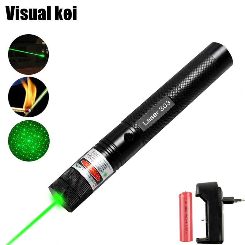 5mW Military 532nm Green Laser 303 Powerful Lazer Pointer verde Pen Sky star Burning Beam Burn Match For 18650 Battery charger цена