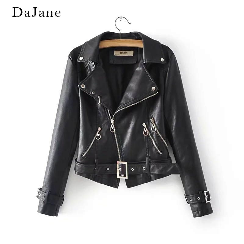 Autumn New women's long-sleeved Short PU   Leather   Motorcycle Coat Manufacturer   Leather   Jacket Women