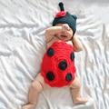 Душа ребенка день рождения новорожденных вязать божья коровка крышка + обложка подпруга фотография реквизит костюм для Infantis Bebe мальчика / девушка одежда