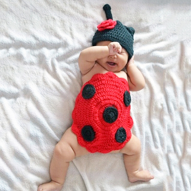 Baby Shower Birthday Newborn Knit Ladybird Cap+Cover Bellyband Photograph Props Costume For Infantis Bebe Baby Boy/Girl Clothes