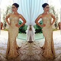 Chegada nova Namorada Ouro Longas Sereia Vestidos de Baile 2017 Vestidos De Noite Brilhante Brilhante Custom Made Vestido De Festa