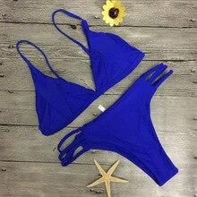 2018 hot sale solid micro bikinis tankini swimsuit female braided rope bottom swimming suit for women