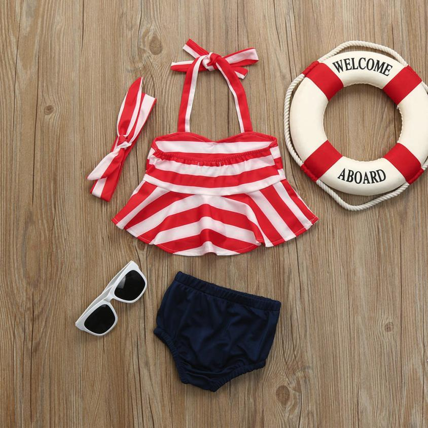 3Pcs Infant Kids Baby Girls Swimwear Straps Swimsuit Bathing Bikini Set Outfits