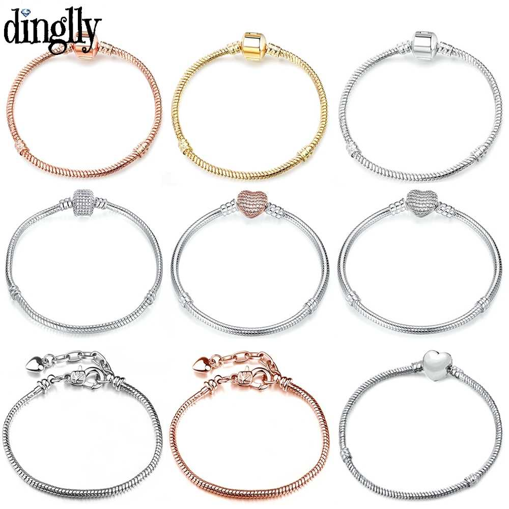 DINGLLY High Quality Rose Gold 16CM-21CM Snake Chain Fit Women Girls DIY Original Brands Charm Bracelets Bangles Jewelry Gifts