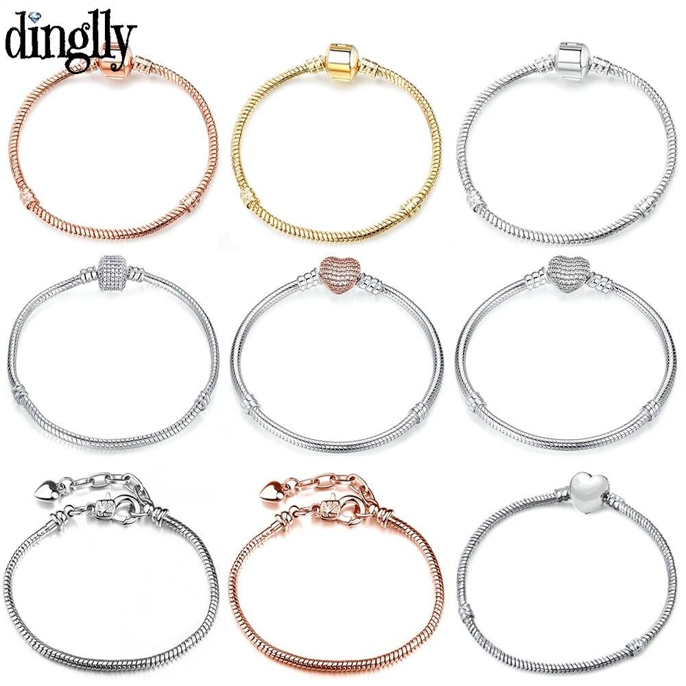 DINGLLY Rose Gold 16CM-21CM Bracelets Snake Chain Fit Women men Girls DIY Original Charm Fine kids Bracelet Bangle Jewelry Gifts(China)