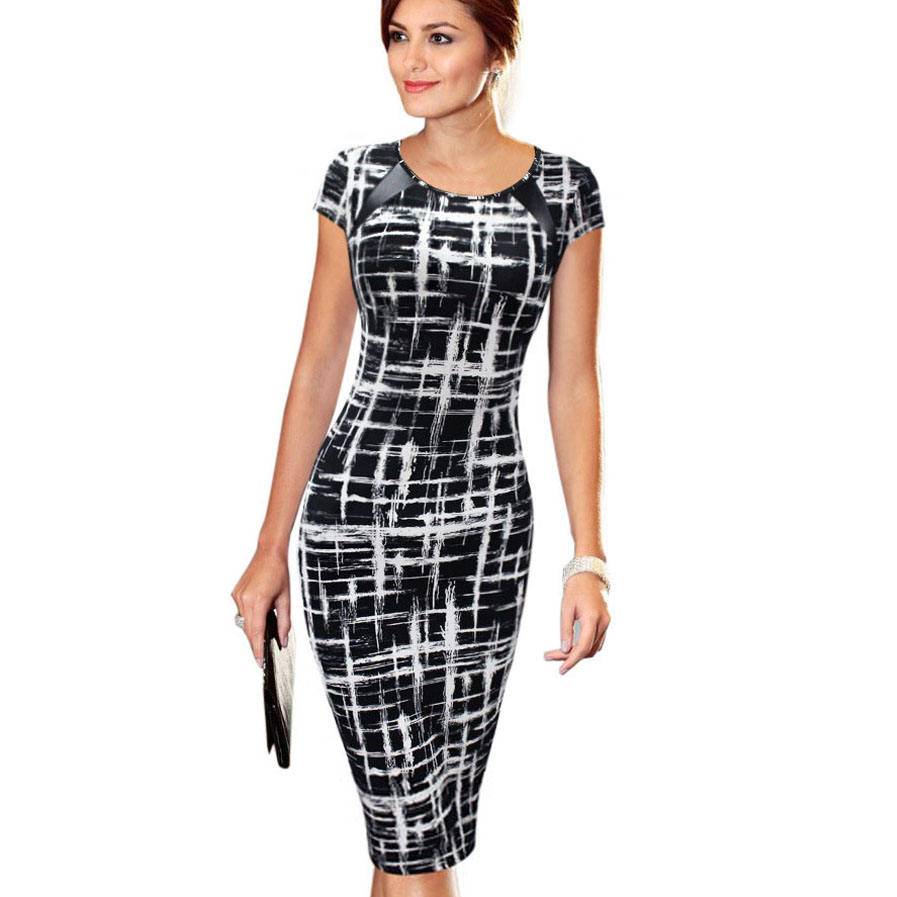 Fashion Free Shipping Women Dress Elegant Business Casual Wear To Work Party Stretch Sleeveless Bodycon 013 short dresses office wear