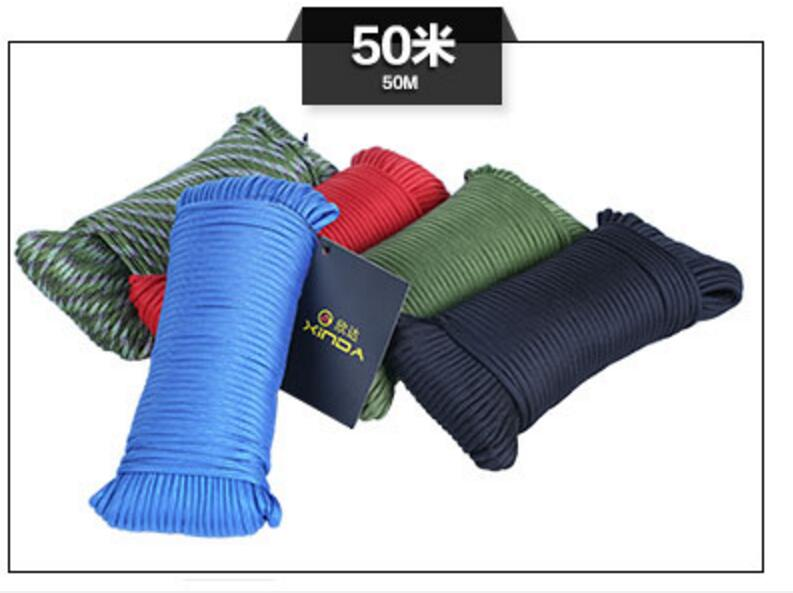 ФОТО 50m 9 cores  Safety Paracord Military regulations parachute rope Climbing emergency rope for Camping & Hiking