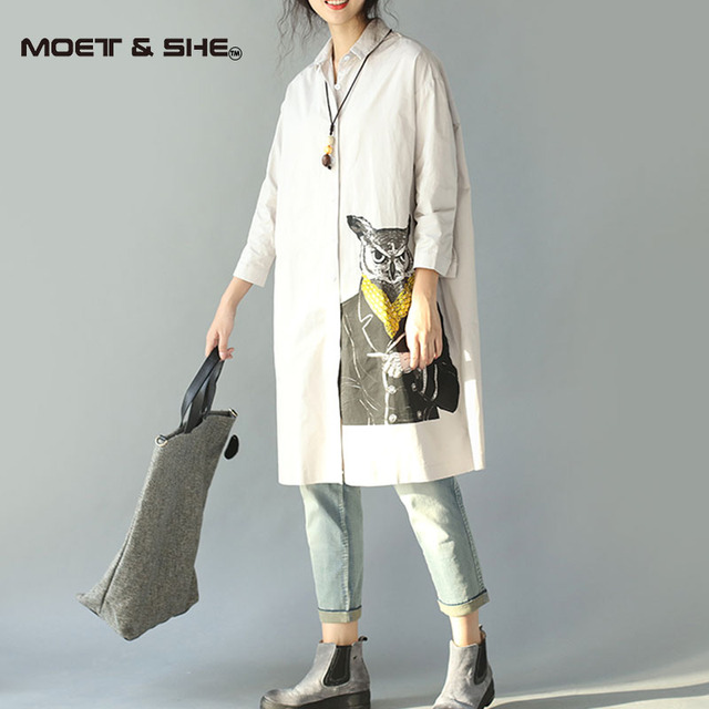Women Owl Lapel Long Blouse Leisure Length Outerwear Clothing  Autumn Spring Summer T6N3106Y